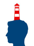 Lighthouse balanced on a mans head Royalty Free Stock Image