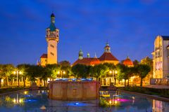 Lighthouse by the Baltic pier in Sopot at dusk. Poland stock image