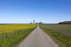 Lighthouse at Baltic Sea coast near Grenaa, Denmark Stock Images