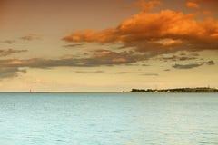 Lighthouse. Baltic sea Poland Danzig Gdansk. Sea sky and lighthouse at sunset or sunrise. Baltic sea. Poland Danzig Gdansk Stock Photography