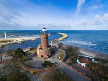 Lighthouse on the baltic seashore Royalty Free Stock Photos