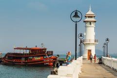 Lighthouse on a Bang Bao pier on Koh Chang Island Royalty Free Stock Image