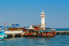 Lighthouse on a Bang Bao pier on Koh Chang Island. Koh Chang Thailand. March 30, 2015. Lighthouse on a Bang Bao pier on Koh Chang Island in Thailand royalty free stock photography
