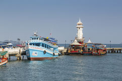 Lighthouse on a Bang Bao pier on Koh Chang Island. Koh Chang Thailand. March 30, 2015. Lighthouse on a Bang Bao pier on Koh Chang Island in Thailand royalty free stock images