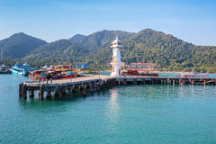 Lighthouse on a Bang Bao pier on Koh Chang Island in Thailand Royalty Free Stock Photos