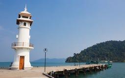 Lighthouse on a Bang Bao pier on Koh Chang Island in Thailand. KOH CHANG, THAILAND - MART 26, 2015: Lighthouse on a Bang Bao pier on Koh Chang Island in Thailand stock photos