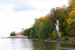 Lighthouse on bank of bay Stock Photography