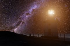 The lighthouse on the beach against the backdrop of the Milky Way Stock Photos