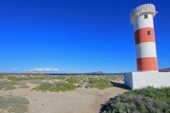 Lighthouse at the beach of Bahia De Los Angeles, Baja California royalty free stock photography