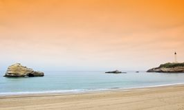 Lighthouse and beach in biarritz Stock Photography