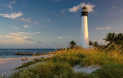 Lighthouse on the Beach, Cape Florida Lighthouse. Bill Baggs Cape Florida State Park, Florida, USA Stock Photos