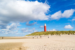 Lighthouse and beach of De Cocksdorp on Texel island, Netherland Royalty Free Stock Images