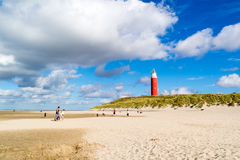 Lighthouse and beach of De Cocksdorp on Texel island, Netherland Stock Image