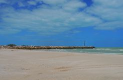 Lighthouse beach ocean Panorama mexico churbuna Stock Photos