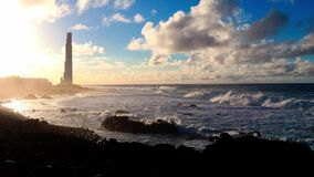 Lighthouse at the beach stock footage