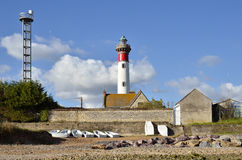 Lighthouse and beach of Ouistreham in France Royalty Free Stock Photography