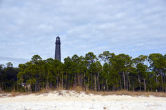 Lighthouse from the beach. A photo of a Florida lighthouse from the beach stock photo