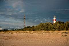 Lighthouse on the beach Royalty Free Stock Photography