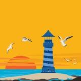 Lighthouse on the Beach Sunset Scene. Landscape vector illustration