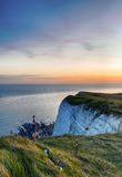Lighthouse at Beachy Head at sunset Stock Images