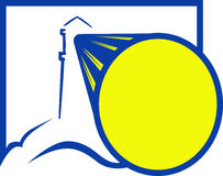 Lighthouse beacon. Blue and yellow logo vector illustration