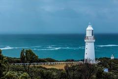 Lighthouse beacon at the coast of the ocean royalty free stock photos