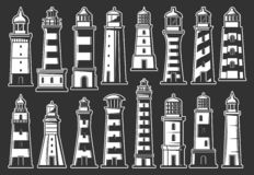 Lighthouse and beacon icons. Nautical symbols. Marine lighthouse and beacon monochrome icons. Navigation in sea, safety on water, navigational construction on vector illustration