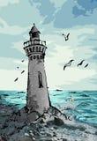 Lighthouse, beacon illustration. Lighthouse stock illustration. Hand drawn colorful illustration stock illustration