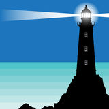 Lighthouse, Beacon, Lighthouse Stands on Rock. S, vector Illustration royalty free illustration
