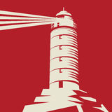 Lighthouse, Beacon, Lighthouse Stands on Rocks. Red background, vector Illustration royalty free illustration