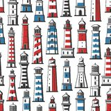 Lighthouse and beacon nautical seamless pattern. Retro seamless pattern of lighthouse ans beacon. Vector background of nautical beacon or seafarer navigator vector illustration