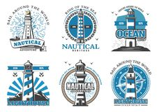 Lighthouse and beacon navigation vector icons. Marine navigation and safety in sea icons with lighthouses. Beacon in shape of striped tower badge for sail around stock illustration