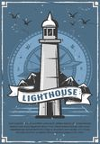 Lighthouse or beacon retro poster with compass. Marine lighthouse sailing club or community retro poster. Beacon tower on sea shore with ribbon, voyage and stock illustration