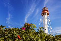 Lighthouse, beacon. At the sea behind bushes are white, cold beacon Stock Images