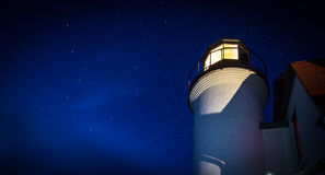 Lighthouse Beacon On A Starry Night. The Point Betsie Lighthouse beacon against a starry sky background. In panoramic orientation with copy space Royalty Free Stock Images