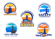 Lighthouse or beacon vector icons set. Lighthouse icons for safety seafaring company. Vector nautical or marine beacon lights set of symbols for ship safe stock illustration