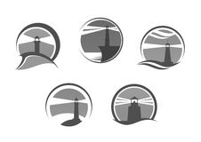 Lighthouse or beacon vector isolated icons set Royalty Free Stock Images