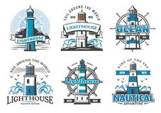 Lighthouse beacons icons signs for nautical club vector illustration