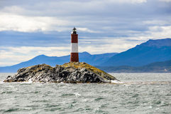 Lighthouse, Beagle Channel, Argentina. End of the world lighthouse in the Beagle Channel, Ushuaia, Argentina royalty free stock image