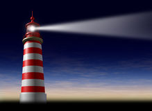 Lighthouse beam of light. And beacon of hope and strategic guidance symbol as a concept of beaming light from the high tower for security and clear direction Stock Photography