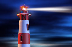 Lighthouse Beam at Night. Illustration of Lighthouse with Beam at Night Stock Image