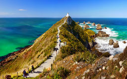 Lighthouse. Beautiful lighthouse, Southern Pacific Ocean Coast, New Zealand Royalty Free Stock Photos