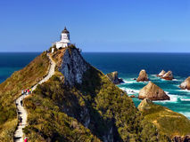 Lighthouse. Beautiful lighthouse, Southern Pacific Ocean Coast, New Zealand Royalty Free Stock Image