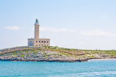 A lighthouse in the beautiful sunny day in Vieste Italy Royalty Free Stock Photos