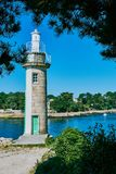 Lighthouse of Benodet, Brittany against blue sky royalty free stock photo