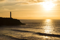 Lighthouse in Biarritz at Sunset Stock Image