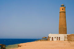 Lighthouse on the big brother island. Red sea,Egipt Royalty Free Stock Photography