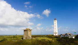 Lighthouse in Blaavand, Denmark Royalty Free Stock Images
