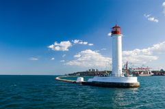 Lighthouse in the black sea Stock Photo