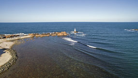 Lighthouse in Black Sea from Above Stock Image